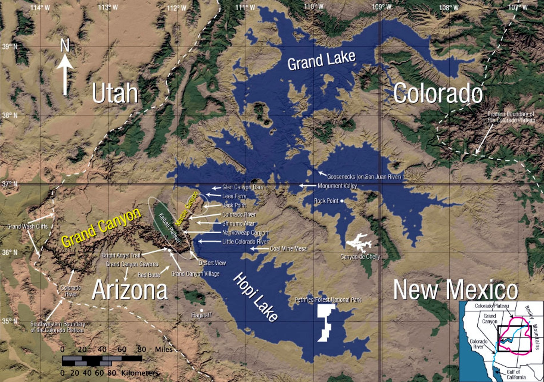 Map Of Hypothetical Floodwater Remnant Lakes Of Colorado Plateau - Map of colorado plateau region